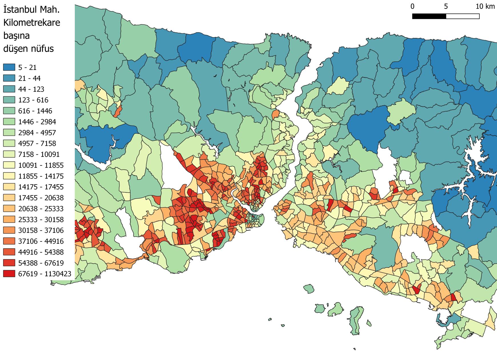 Editörün görsel eki: Sinan Tankut Gülhan, İstanbul nüfus yoğunluğu haritası, 2019