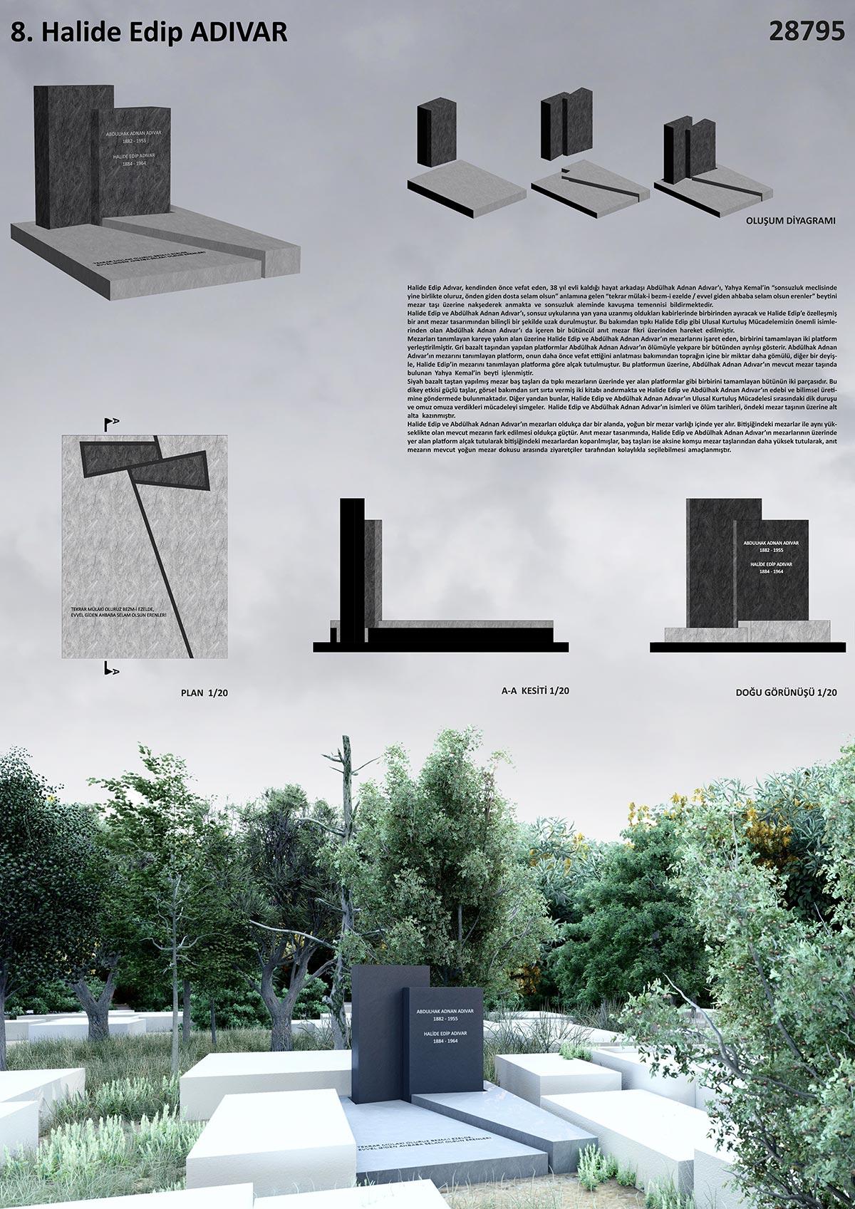 1. Ödül ( Halide Edip Adıvar), İstanbul'un Mezarları Tasarım Yarışması Paftası