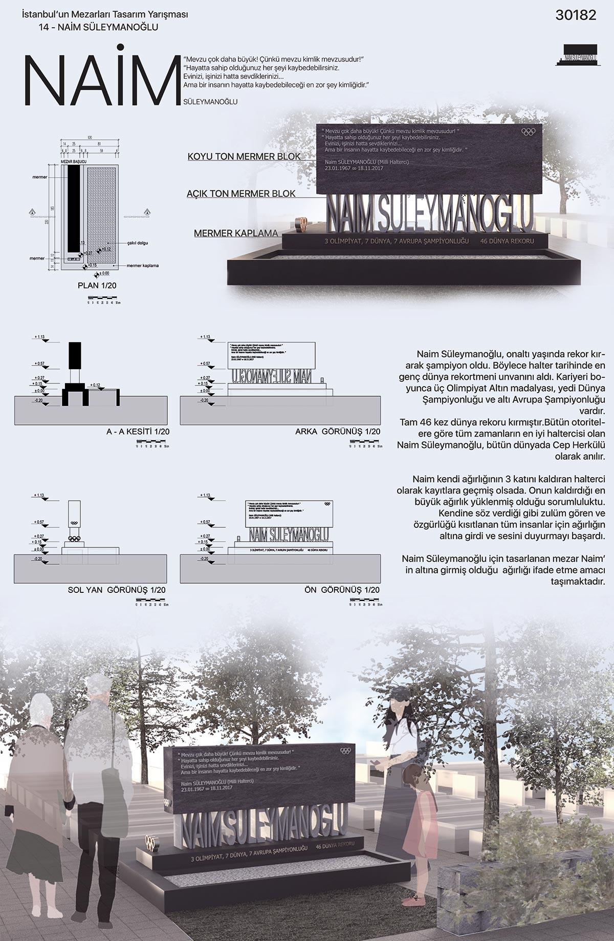 Naim Süleymanoğlu İstanbul'un Mezarları Tasarım Yarışması İkincilik Paftası